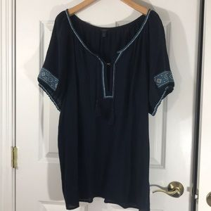 Navy blue cotton  jcrew cover up with embroidery